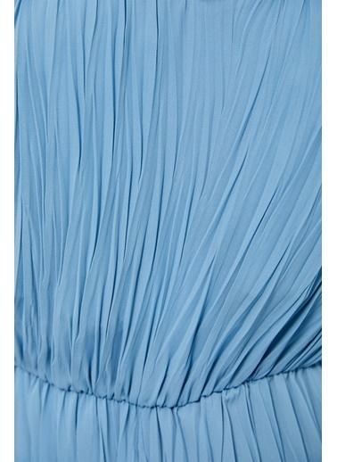 Setre Koyu Mavi ınce Askılı Piliseli Kapri Boy Tulum Mavi